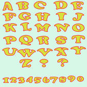 Photo Set of colorful alphabet and numbers.
