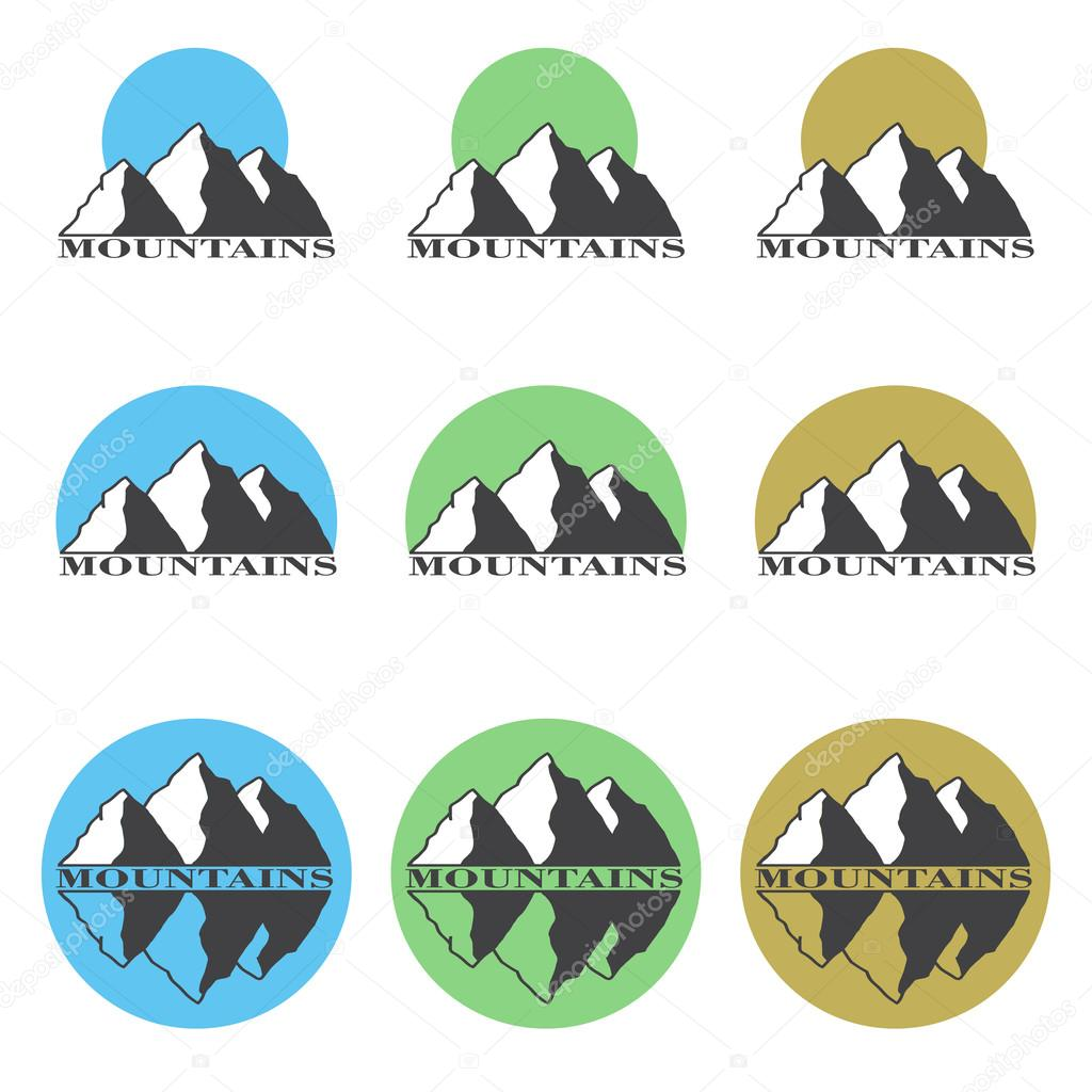 Colored logos, icons mountain set.
