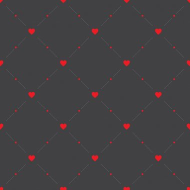 Seamless geometric pattern with hearts. Vector texture, background. clip art vector