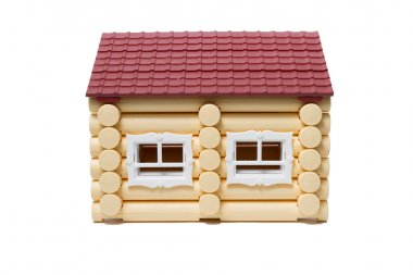 Model wooden houses made of logs are isolated.