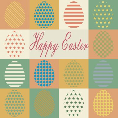 Colorful retro set of isolated Easter eggs. Vector illustration. icon
