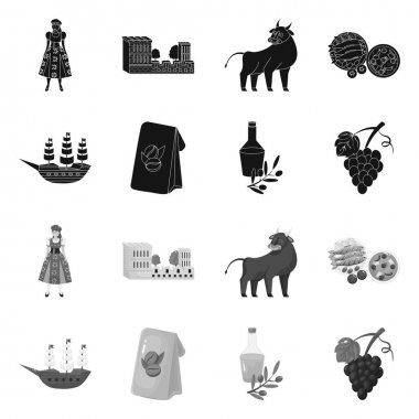 Isolated object of and historic sign. Collection of and country stock symbol for web. icon