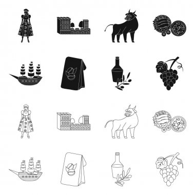 Isolated object of and historic symbol. Collection of and country stock vector illustration. icon