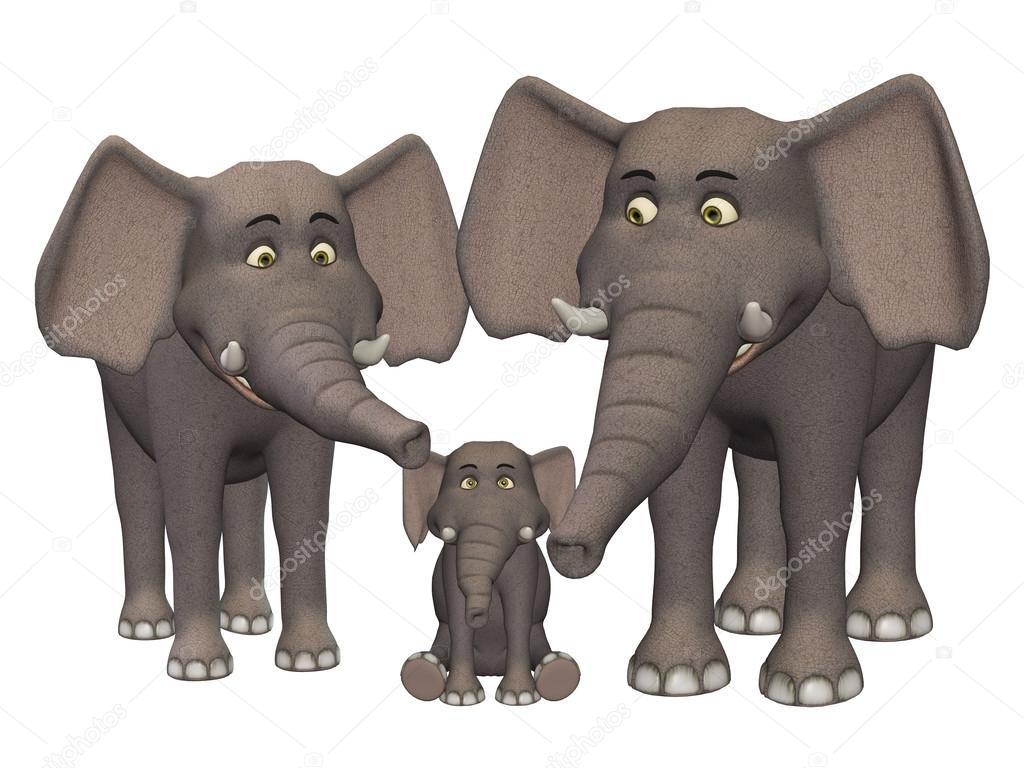 Famille d 39 elephant dessin anim 3d photographie artecke - Elephant image dessin ...