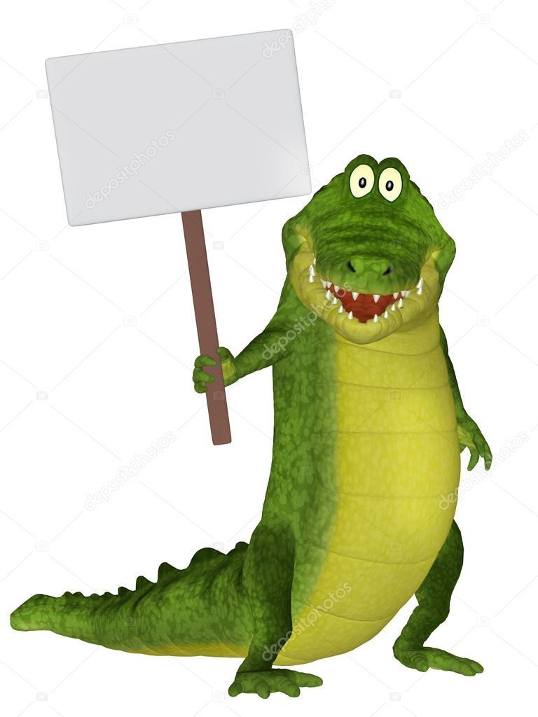 Crocodile 3d dessin anim mignon avec un signe blanc photographie artecke 82197254 - Dessin anime crocodile ...