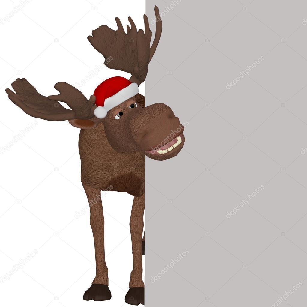 weihnachten cartoon elch mit einem leeren brett. Black Bedroom Furniture Sets. Home Design Ideas