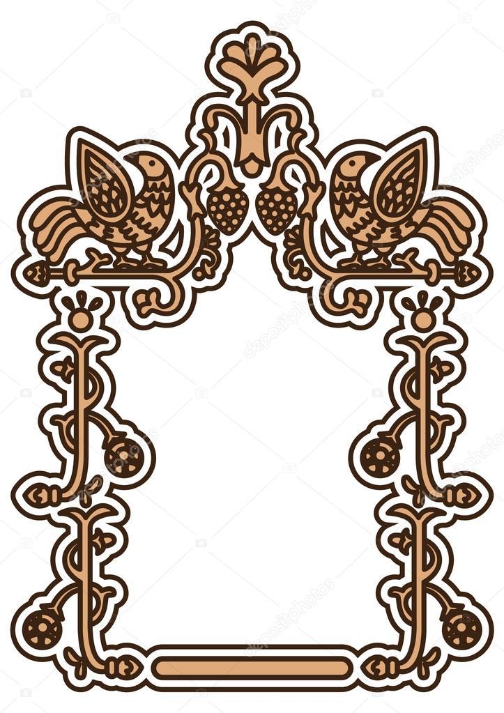 Altrussischen ornamentalen Rahmen mit Fantasie-Vögel — Stockvektor ...