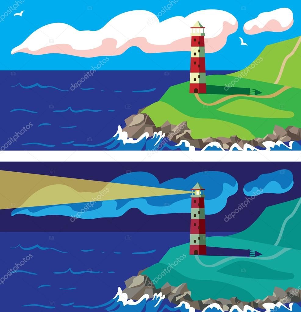 Lighthouse on the rocks day and night