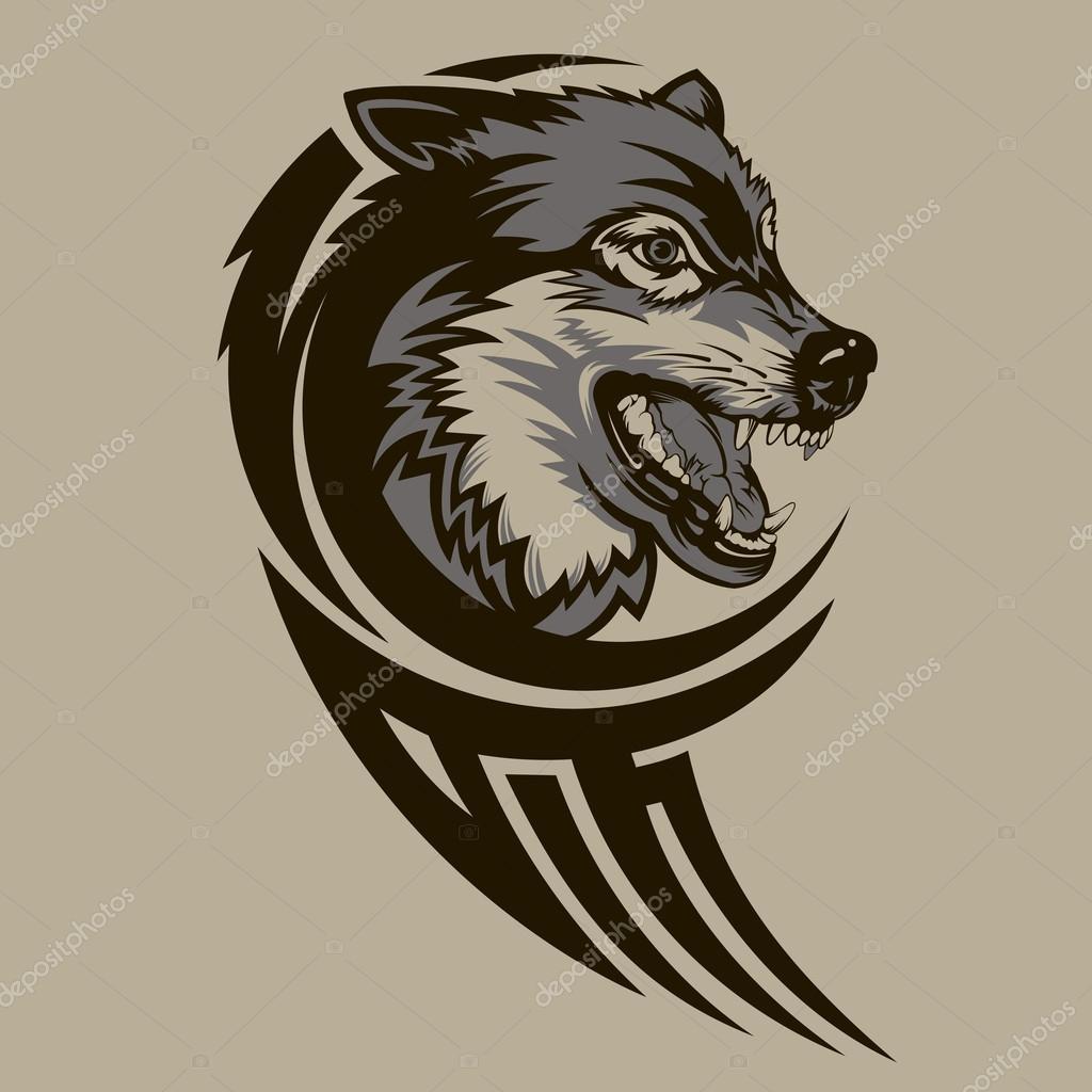 Tribal Tatuaż Wilk Grafika Wektorowa Georglaz 62277649