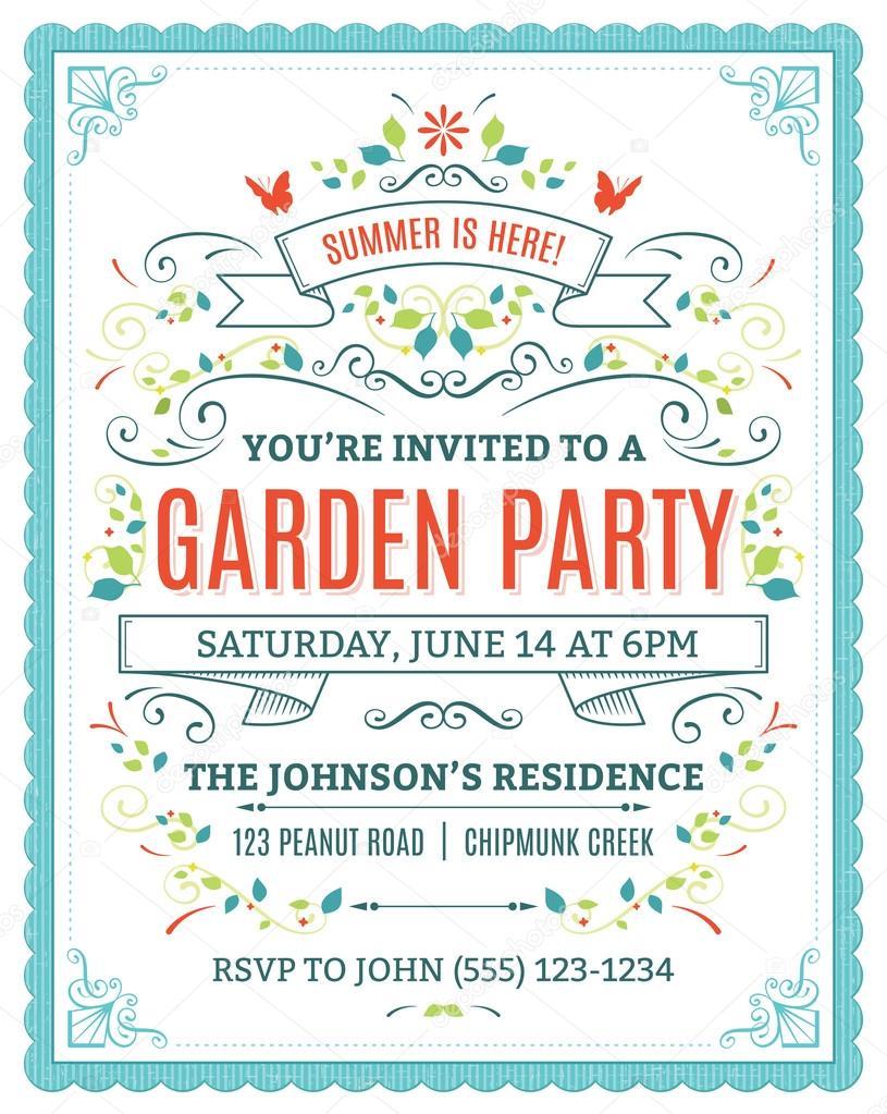Garden Party Invitation Stock Vector cajoer 65997207
