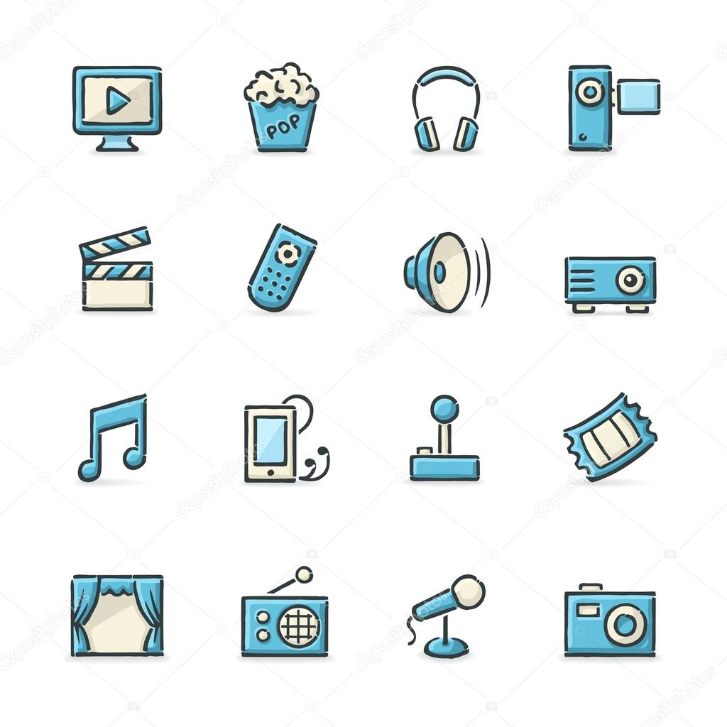 Hand drawn blue and beige movie, music, gaming and other entertainment icons. stock vector