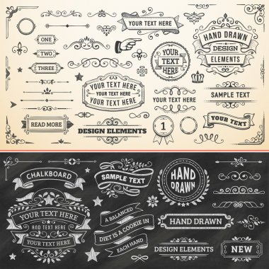 Large set of hand drawn design elements. Vector format. stock vector