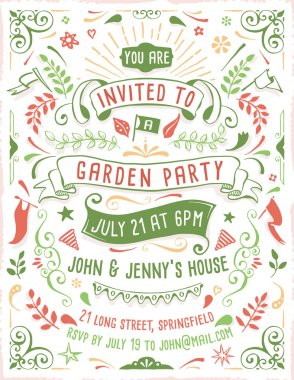 Hand Drawn Summer Party Invitation Template
