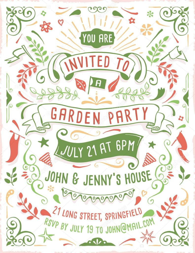 Hand Drawn Summer Party Invitation Template — Stock Vector © cajoer ...