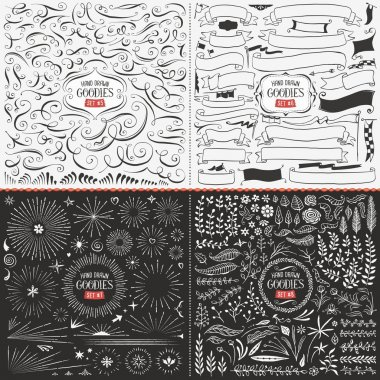 Very large collection of hand drawn vector design elements such as swirls, ribbons, flags, bursts, flowers and leaves. stock vector