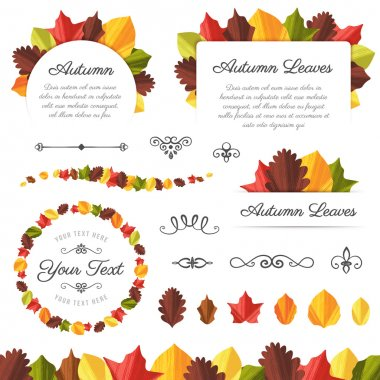 Collection of Textured Vector Autumn Leaves