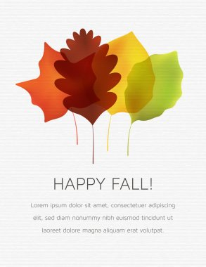 Stylized Autumn Leaves on a White Textured Background