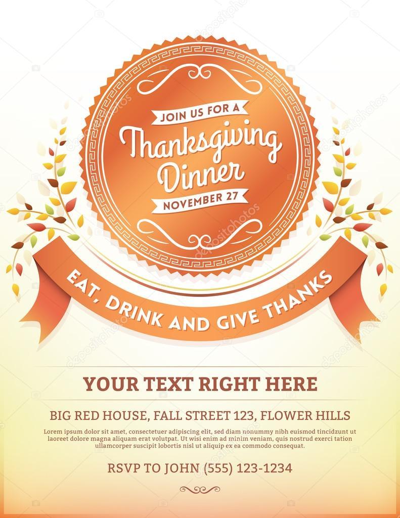 thanksgiving dinner invitation template stock vector cajoer