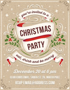 Hand Drawn Christmas Party Invitation with White Ribbons and Orn