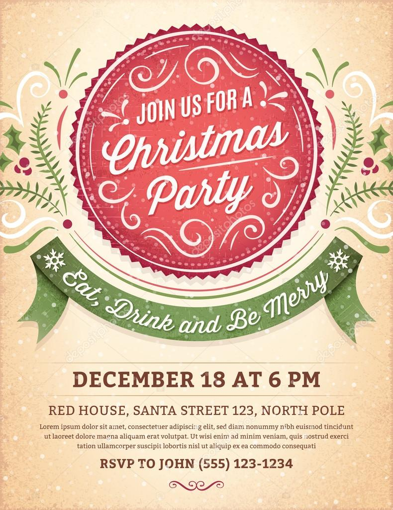 Christmas Party Invitation with a Big Red Label and a Green Ribb