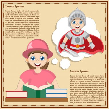 A girl reading a book is thinking about a knight. Vector illustration. icon