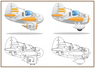 A set of jet planes. Side view. Isolated on white background. Vector illustration. icon