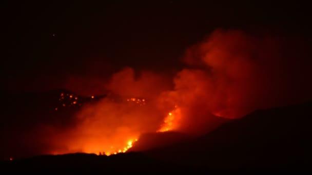 Rozsáhlý lesní požár v noci