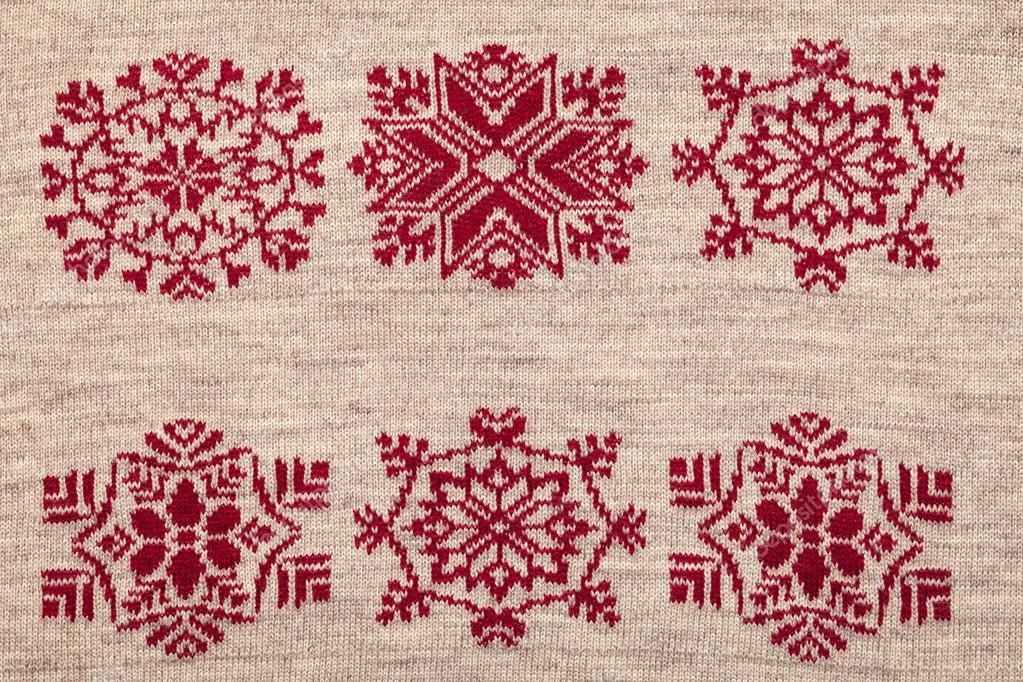 Knitted Fabric Cloth With Christmas Ornament Stock Photo