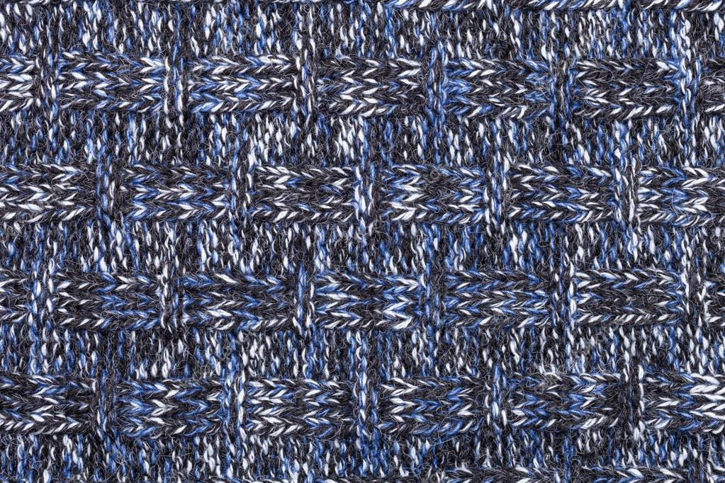 b70f955f778 Blue white black knitted fabric made of heathered yarn textured background  — Photo by ...