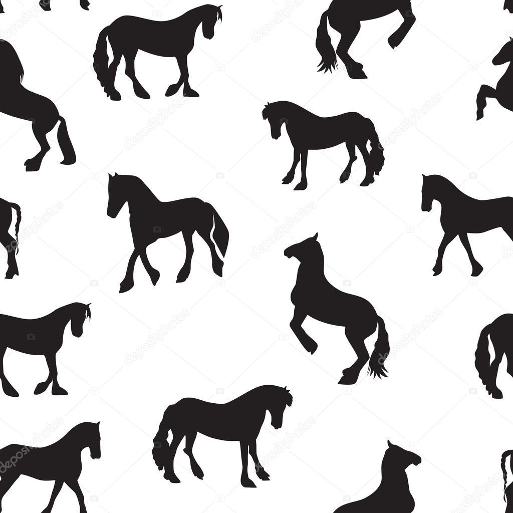 Ilustración de Vector de caballo negro silueta de patrones sin ...