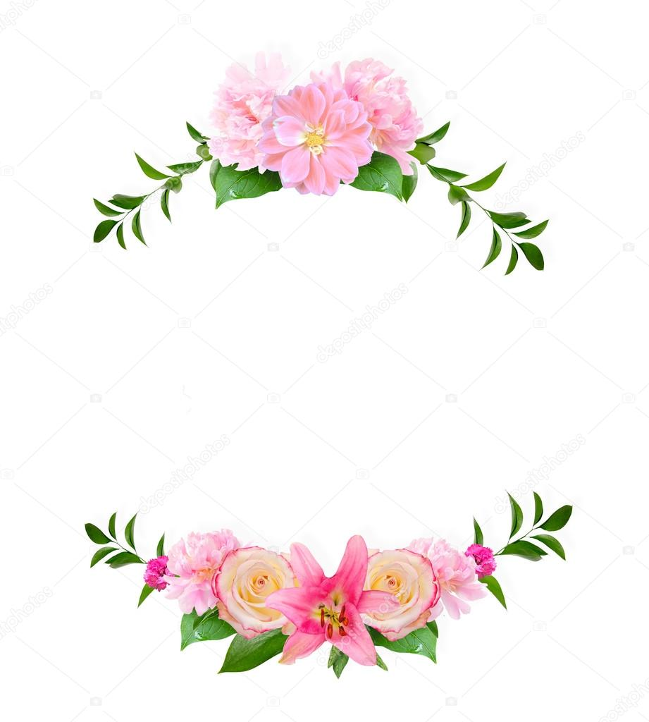 frame made from summer pink flowers and green leaves isolated on fotografias de stock. Black Bedroom Furniture Sets. Home Design Ideas