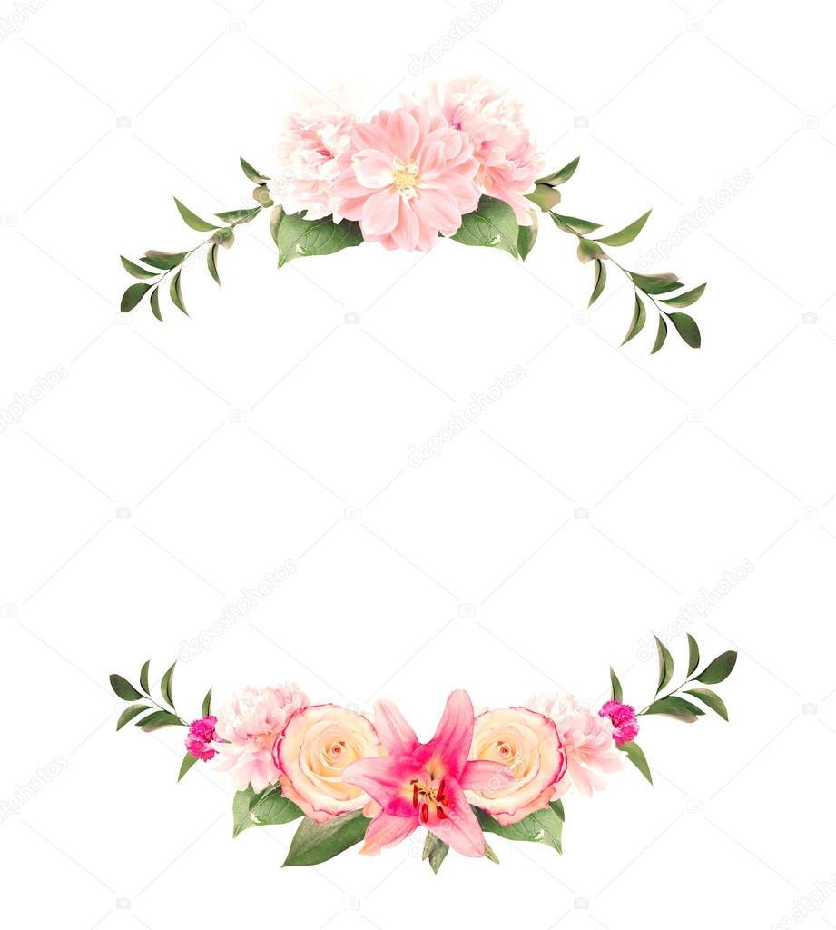 Moldura Feita De Ver 227 O Rosa Flores E Folhas Verdes