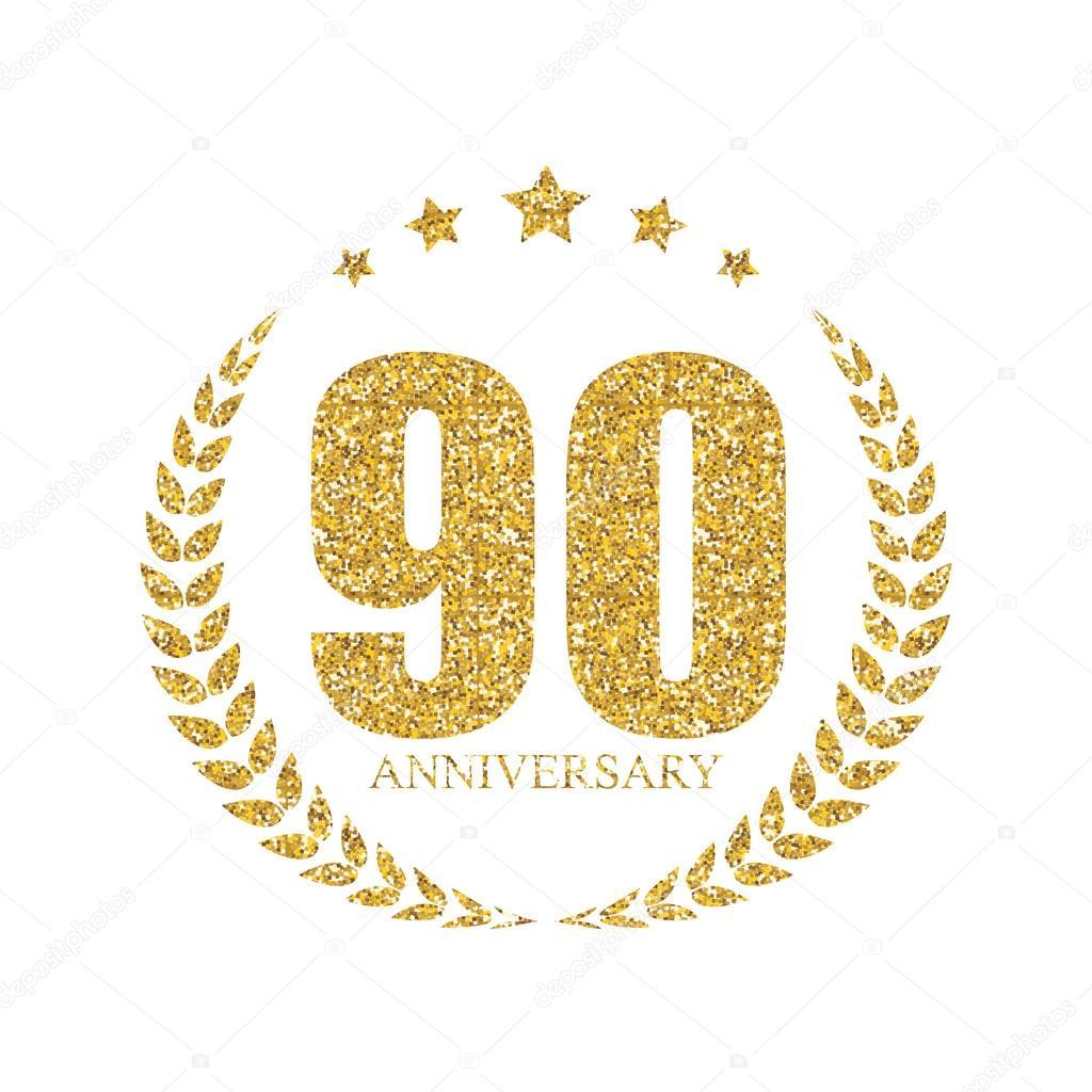 New Sjabloon Logo 90 jaar verjaardag vectorillustratie — Stockvector &ZP11