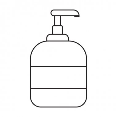 Jar with liquid antiseptic soap, foam for washing hands. Black and white icon. Vector Illustration. EPS10 icon