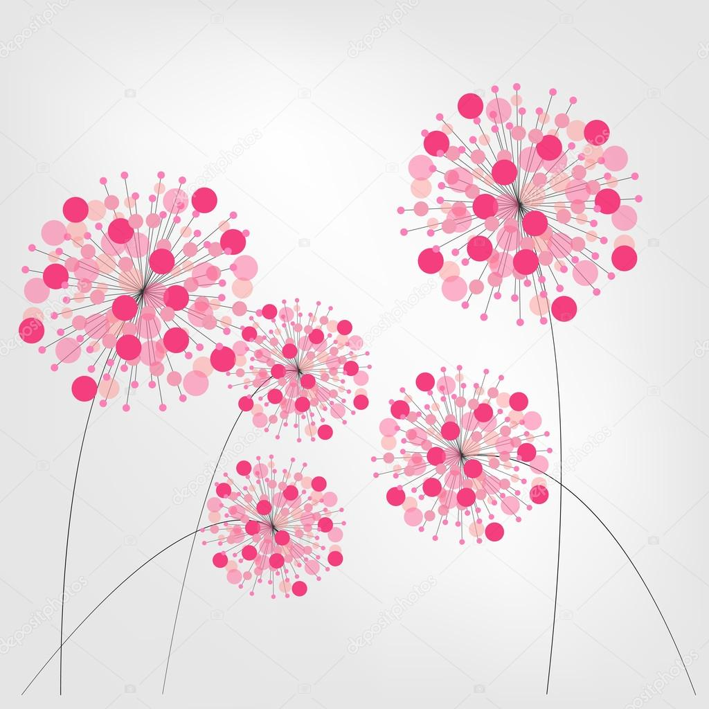 Abstract Colorful Background with Flowers. Vector Illustration.
