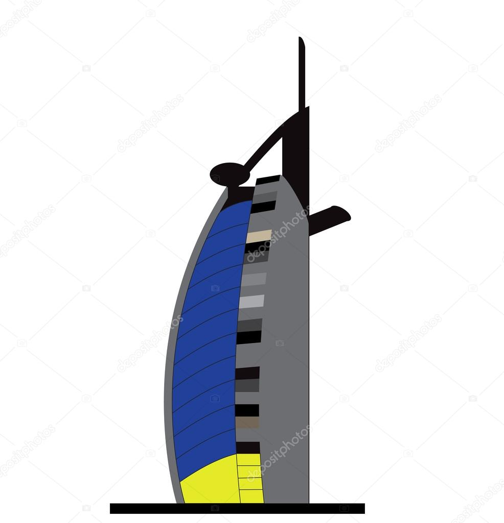 Silhouette Jumeirah Beach Hotel Vector Illustration.