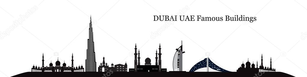 Silhouette Famous buildings. Vector Illustration.