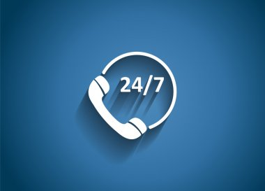Customer service 24.7 Glossy Icon Vector Illustration