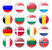Fotografie Round Flag Icon Vector Illustration