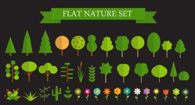 Paper Trendy Flat Trees and Flowers Set Vector Illustration