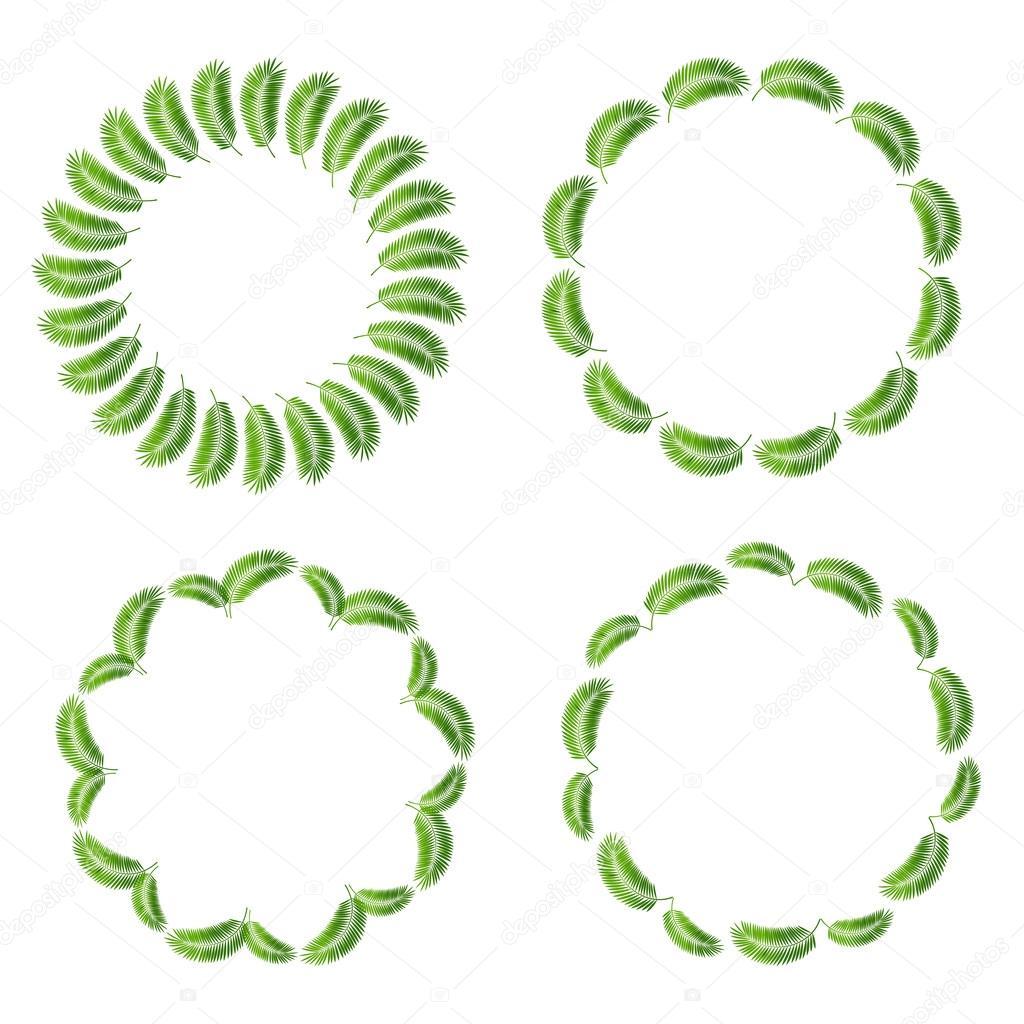 Palm Leaf Frame Set Vector Illustration
