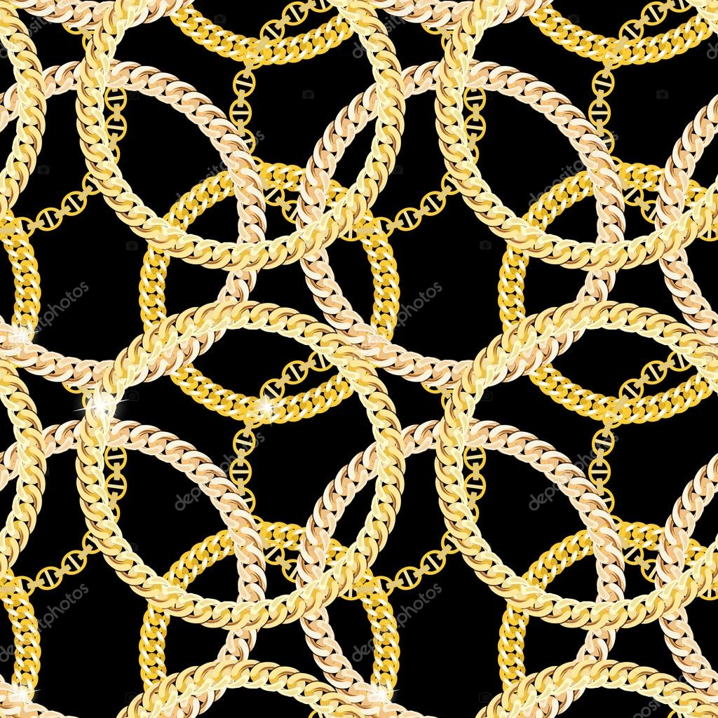 Gold Chain Jewelry Seamless Pattern Background. Vector Illustrat