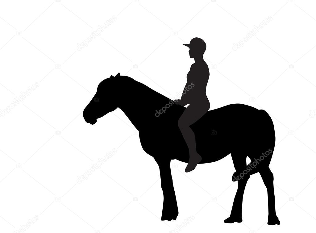 Silhouette of the Rider on the Horse. Vector Illustration.