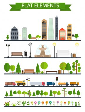 Flat City, Park, Forest, Road Elements