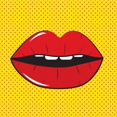 Open Red Lips Pop Art Background Vector