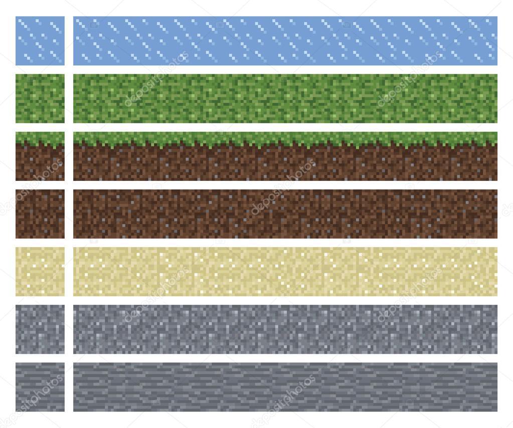 Texture Pour Platformers Pixel Art Vecteur Carrelage De