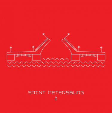 Palace Bridge - symbol of Saint Petersburg, Russia. Simple line drawn. Vector illustration isolated white shape on red background clip art vector