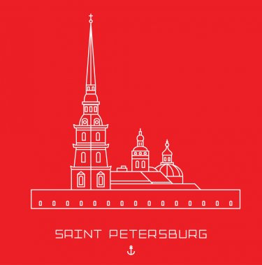 Peter and Paul Cathedral - Saint Petersburg architectural monument. Simple line drawn shape isolated white symbol on red background clip art vector