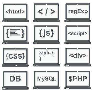 web development icon, set on laptop screen