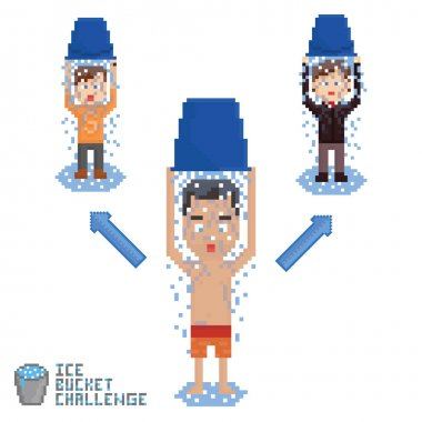 set of three pixel art persons malking ice bucket chalenge in chain